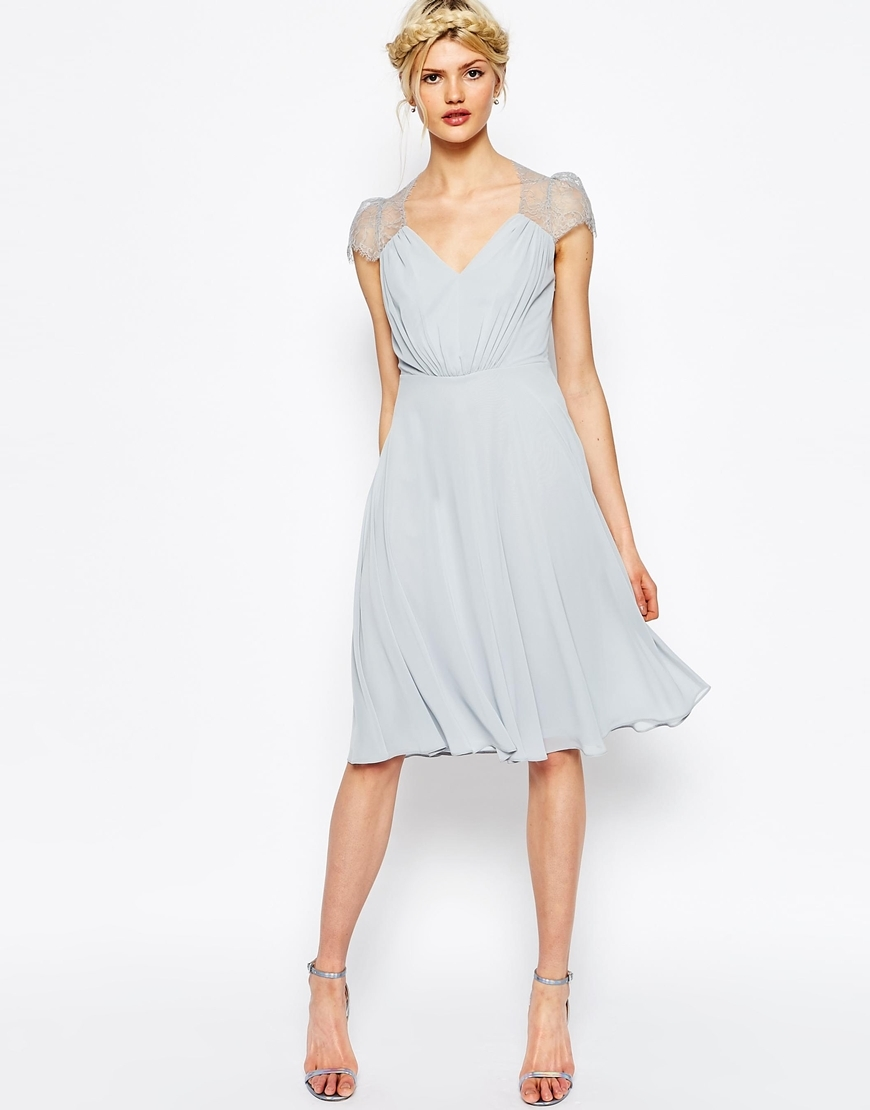 Kate Lace Midi Dress Ice Grey - style: shift; length: below the knee; neckline: v-neck; sleeve style: capped; pattern: plain; bust detail: subtle bust detail; predominant colour: pale blue; occasions: evening, occasion; fit: body skimming; fibres: polyester/polyamide - 100%; sleeve length: short sleeve; pattern type: fabric; texture group: jersey - stretchy/drapey; embellishment: lace; season: s/s 2016; wardrobe: event; embellishment location: shoulder