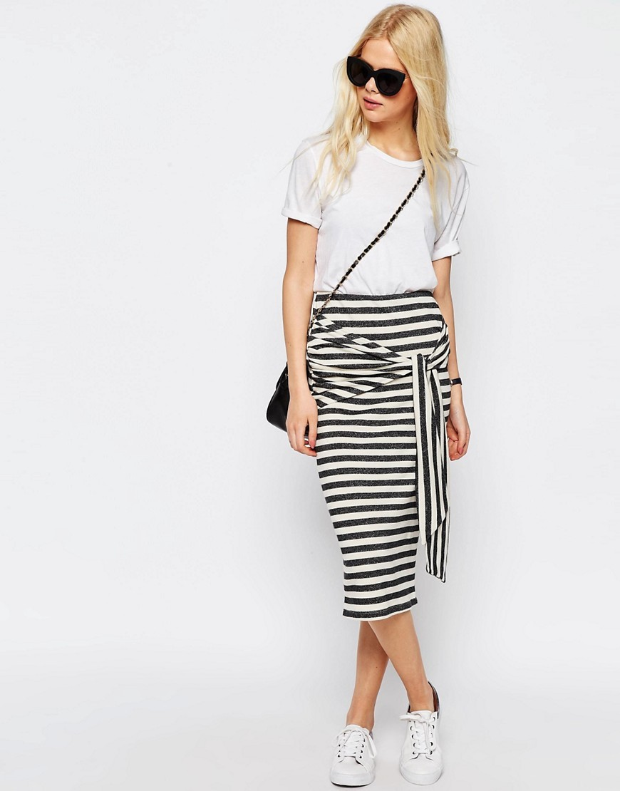 Tie Knot Stripe Pencil Skirt Multi - length: below the knee; style: pencil; waist: high rise; waist detail: belted waist/tie at waist/drawstring; secondary colour: white; predominant colour: black; occasions: casual, creative work; fibres: cotton - 100%; fit: straight cut; pattern type: fabric; texture group: jersey - stretchy/drapey; pattern size: big & busy (bottom); pattern: horizontal stripes (bottom); season: s/s 2016; wardrobe: highlight
