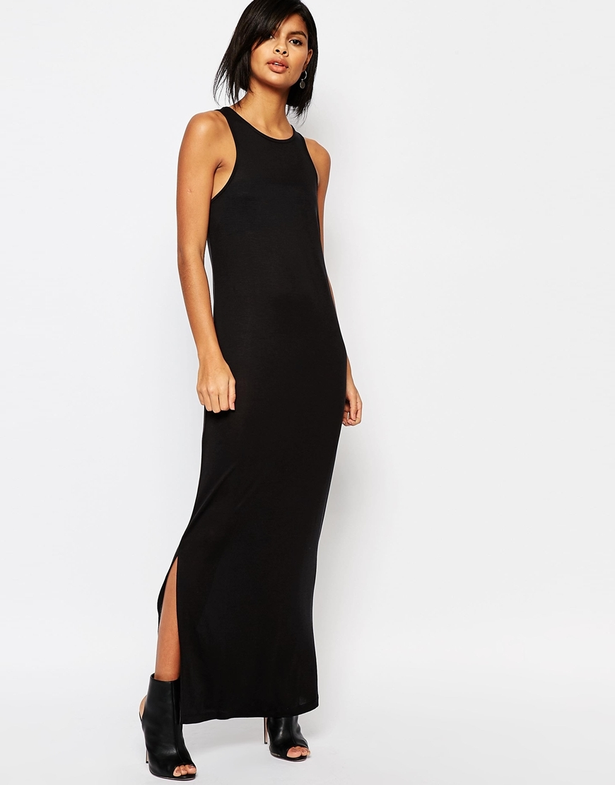 Jersey Maxi Dress Black - neckline: round neck; pattern: plain; sleeve style: sleeveless; style: maxi dress; length: ankle length; predominant colour: black; occasions: evening; fit: body skimming; fibres: cotton - mix; sleeve length: sleeveless; pattern type: fabric; texture group: jersey - stretchy/drapey; season: s/s 2016