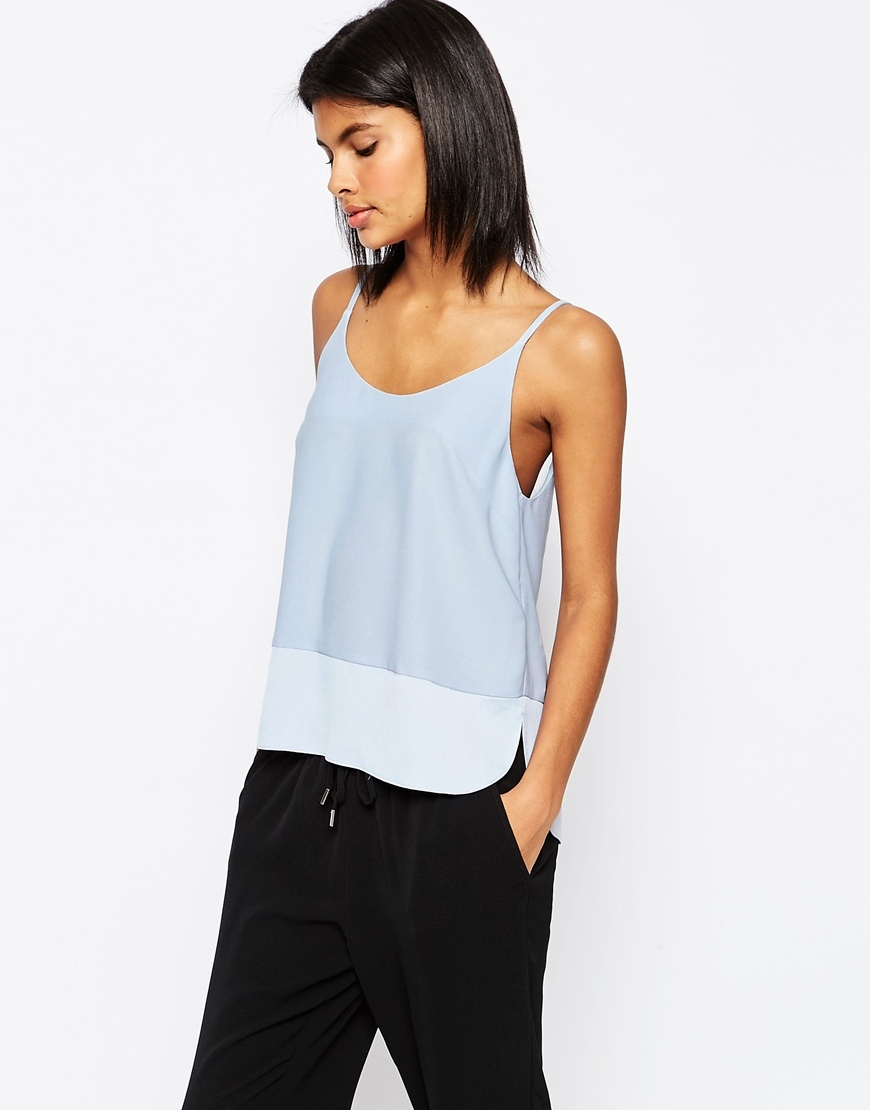 Scoop Back Cami Top In Matte & Shine Blue - sleeve style: spaghetti straps; pattern: plain; style: camisole; predominant colour: pale blue; occasions: casual, evening, creative work; length: standard; neckline: scoop; fibres: polyester/polyamide - 100%; fit: straight cut; sleeve length: sleeveless; pattern type: fabric; texture group: other - light to midweight; season: s/s 2016; wardrobe: highlight