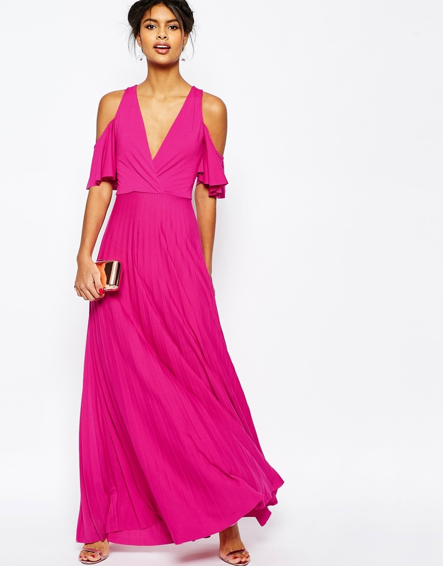 Cold Shoulder Pleated Maxi Dress Pink - neckline: v-neck; pattern: plain; style: maxi dress; predominant colour: hot pink; occasions: evening, occasion; length: floor length; fit: body skimming; fibres: polyester/polyamide - 100%; shoulder detail: cut out shoulder; sleeve length: short sleeve; sleeve style: standard; pattern type: fabric; texture group: jersey - stretchy/drapey; season: s/s 2016; wardrobe: event