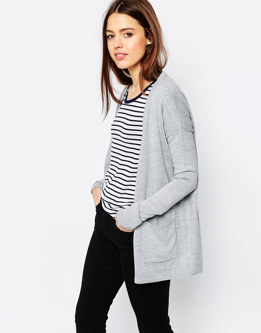 Oversized Cardigan In Fine Knit Grey - neckline: low v-neck; pattern: plain; length: below the bottom; predominant colour: light grey; occasions: casual, work, creative work; style: standard; fibres: acrylic - 100%; fit: loose; sleeve length: long sleeve; sleeve style: standard; texture group: knits/crochet; pattern type: knitted - fine stitch; season: s/s 2016