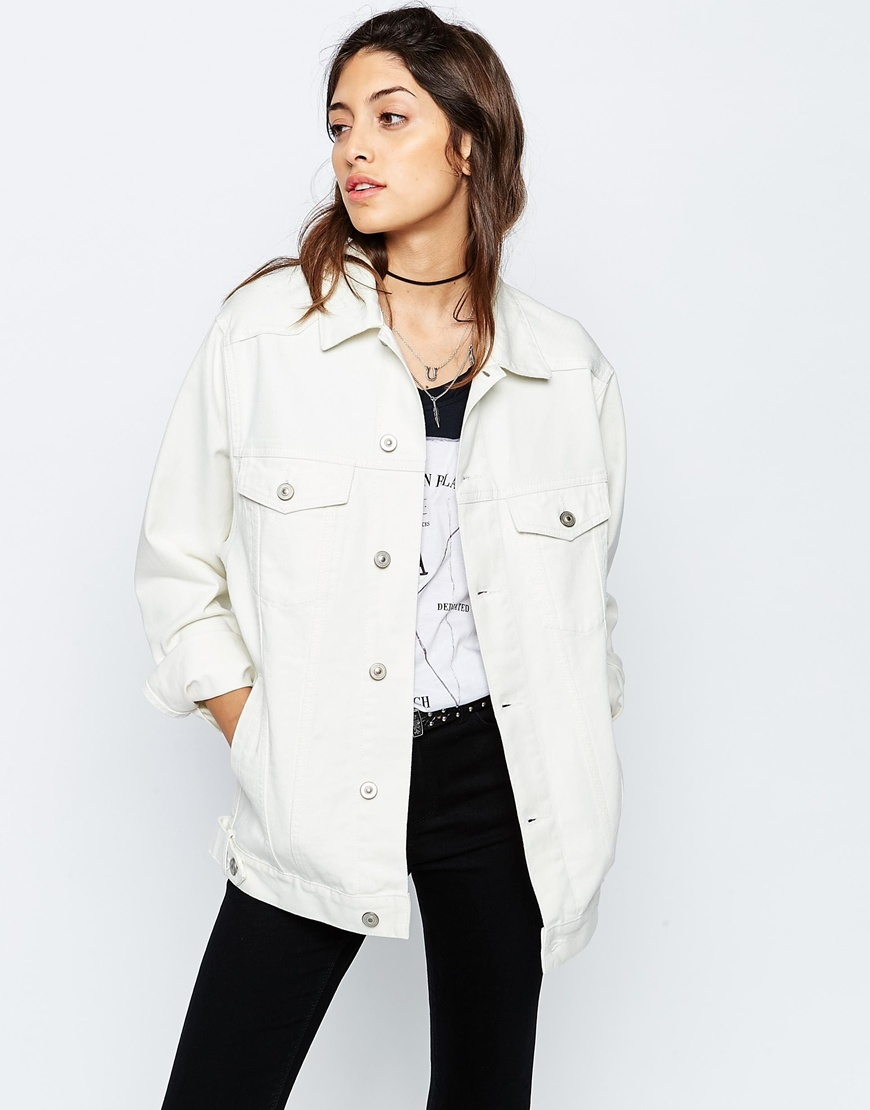 Denim Girlfriend Jacket In Off White Off White - pattern: plain; length: below the bottom; style: denim; predominant colour: white; occasions: casual; fit: straight cut (boxy); fibres: cotton - 100%; collar: shirt collar/peter pan/zip with opening; sleeve length: long sleeve; sleeve style: standard; texture group: denim; collar break: high/illusion of break when open; pattern type: fabric; season: s/s 2016; wardrobe: basic