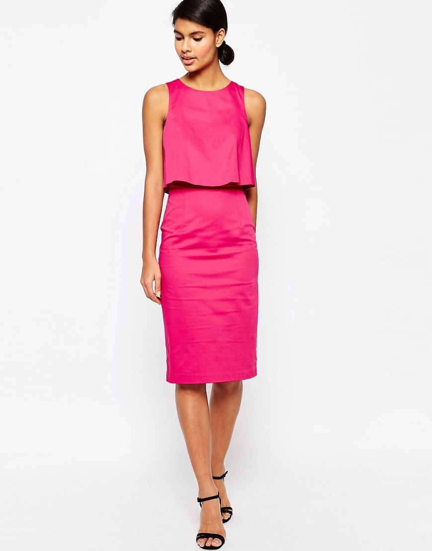Structured Double Layer Pencil Dress Pink - style: shift; fit: tailored/fitted; pattern: plain; sleeve style: sleeveless; predominant colour: hot pink; occasions: evening, occasion; length: on the knee; fibres: cotton - stretch; neckline: crew; sleeve length: sleeveless; pattern type: fabric; texture group: woven light midweight; season: s/s 2016; wardrobe: event
