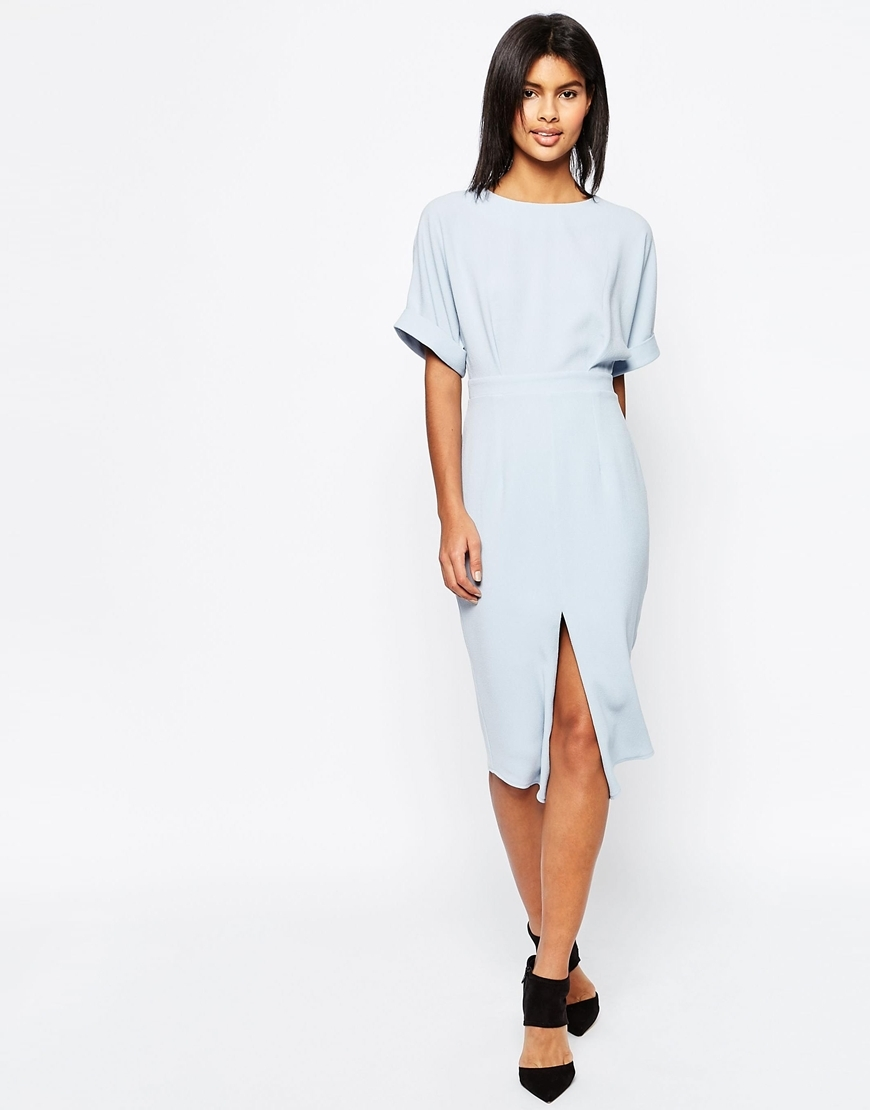 Wiggle Dress With Split Front Blue - style: shift; length: below the knee; pattern: plain; predominant colour: pale blue; occasions: evening; fit: body skimming; fibres: polyester/polyamide - stretch; neckline: crew; hip detail: slits at hip; sleeve length: short sleeve; sleeve style: standard; pattern type: fabric; texture group: jersey - stretchy/drapey; season: s/s 2016; wardrobe: event