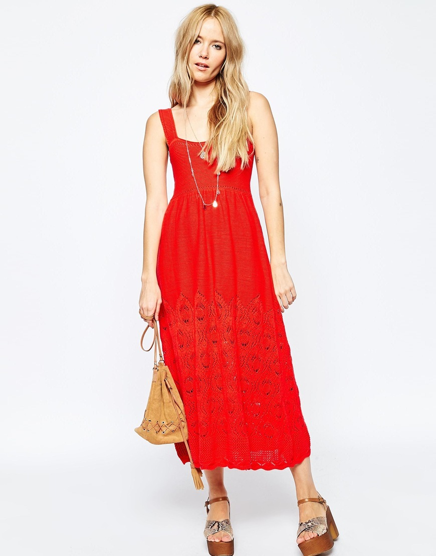 Crochet Sundress In Midi Length Red - sleeve style: standard vest straps/shoulder straps; fit: empire; style: maxi dress; length: ankle length; predominant colour: true red; occasions: casual, holiday; neckline: scoop; fibres: polyester/polyamide - 100%; sleeve length: sleeveless; texture group: knits/crochet; pattern type: knitted - other; pattern size: standard; pattern: patterned/print; season: s/s 2016; wardrobe: highlight