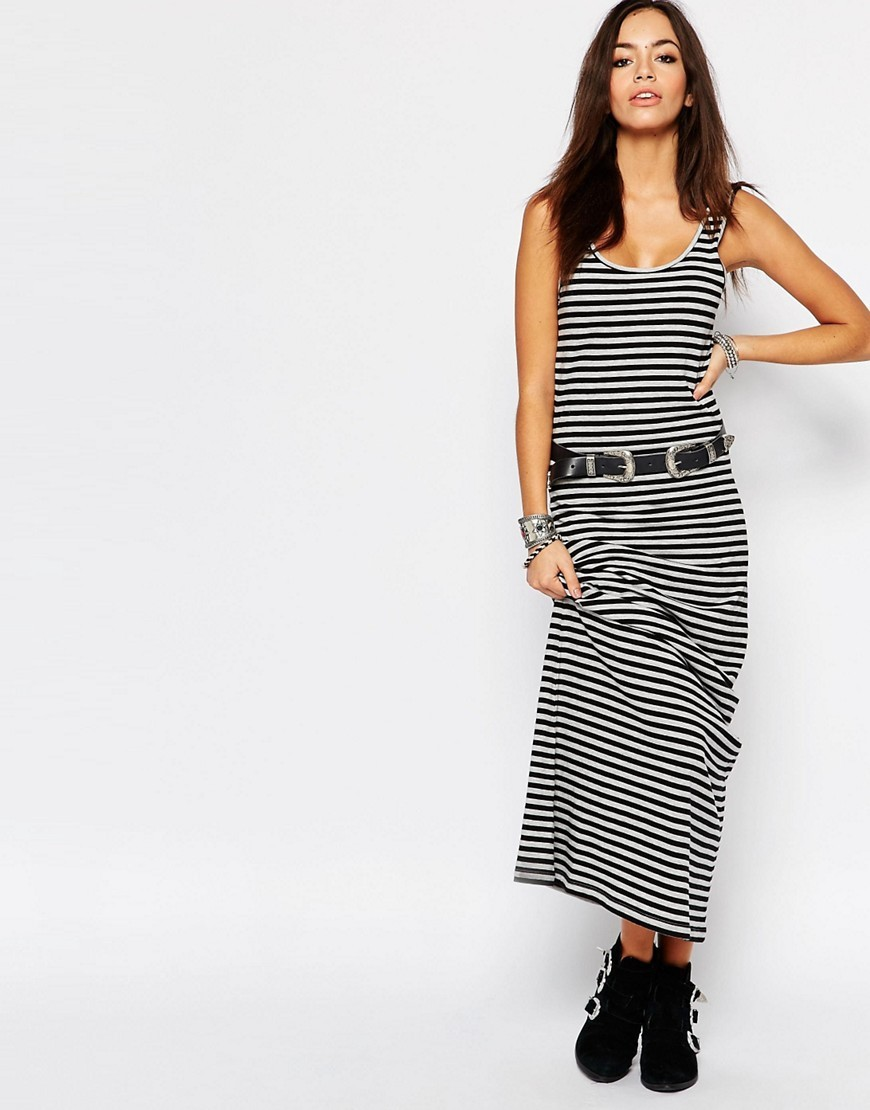 Abbie Striped Jersey Tank Maxi Dress Multi - sleeve style: standard vest straps/shoulder straps; pattern: horizontal stripes; style: maxi dress; length: ankle length; waist detail: belted waist/tie at waist/drawstring; secondary colour: white; predominant colour: black; occasions: casual; fit: body skimming; neckline: scoop; fibres: cotton - stretch; sleeve length: sleeveless; trends: monochrome; pattern type: fabric; texture group: jersey - stretchy/drapey; season: s/s 2016; wardrobe: basic