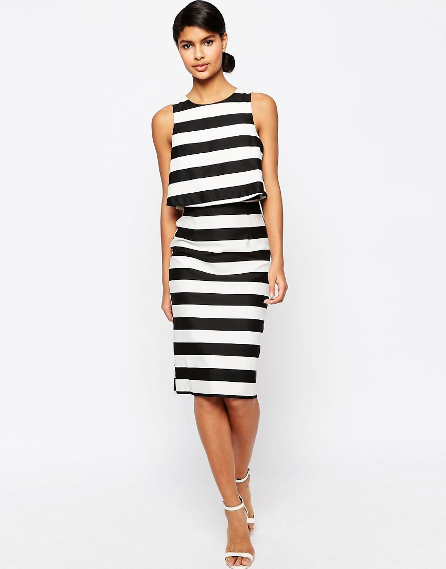 Structured Double Layer Pencil Dress In Stripe Multi - style: shift; pattern: horizontal stripes; sleeve style: sleeveless; predominant colour: black; length: on the knee; fit: body skimming; fibres: polyester/polyamide - mix; occasions: occasion; neckline: crew; sleeve length: sleeveless; pattern type: fabric; pattern size: standard; texture group: other - light to midweight; season: s/s 2016; wardrobe: event