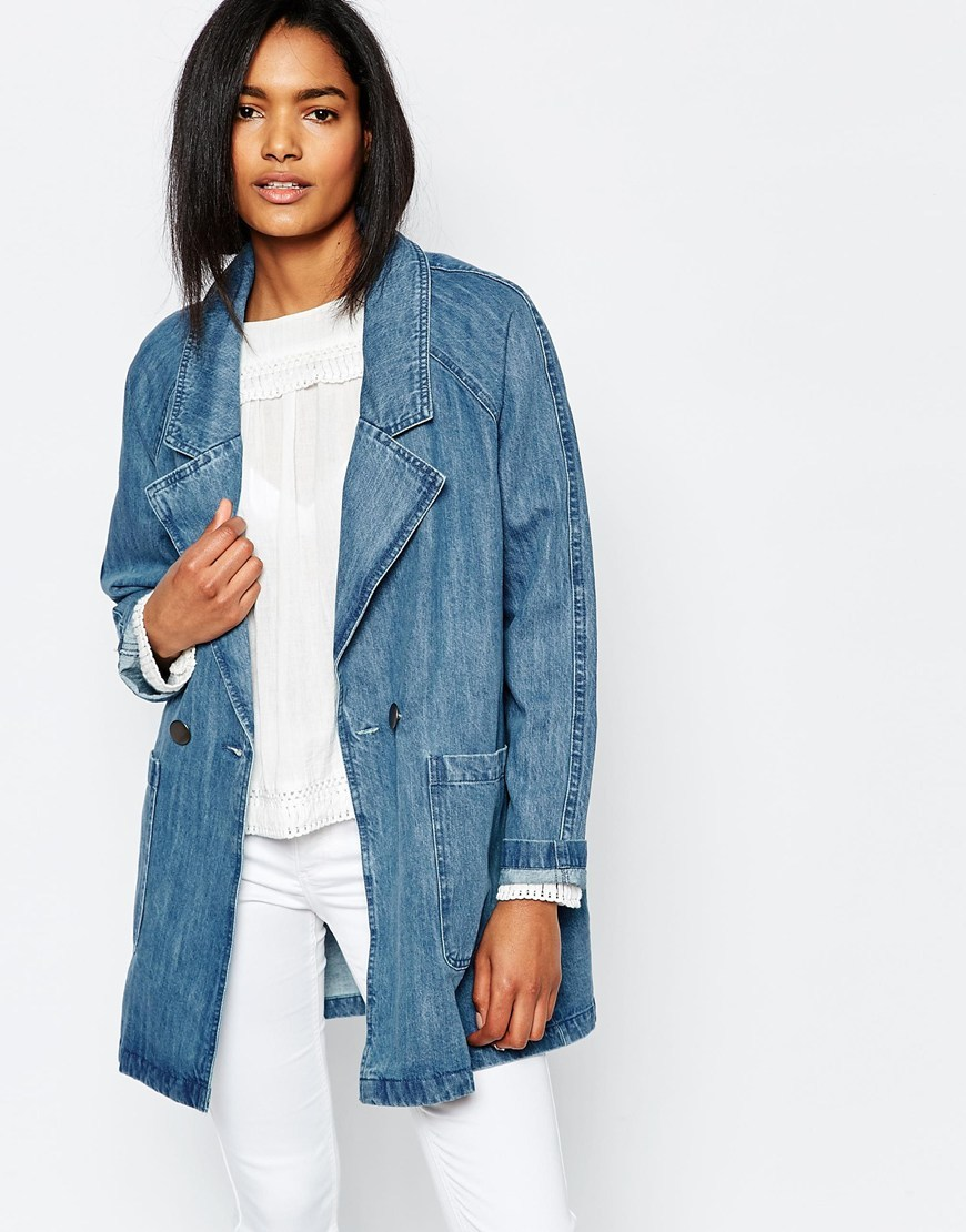Oversized Denim Jacket Blue - pattern: plain; collar: wide lapels; fit: loose; style: denim; predominant colour: denim; occasions: casual, creative work; fibres: cotton - 100%; length: mid thigh; sleeve length: long sleeve; sleeve style: standard; texture group: denim; collar break: medium; pattern type: fabric; season: s/s 2016; wardrobe: basic