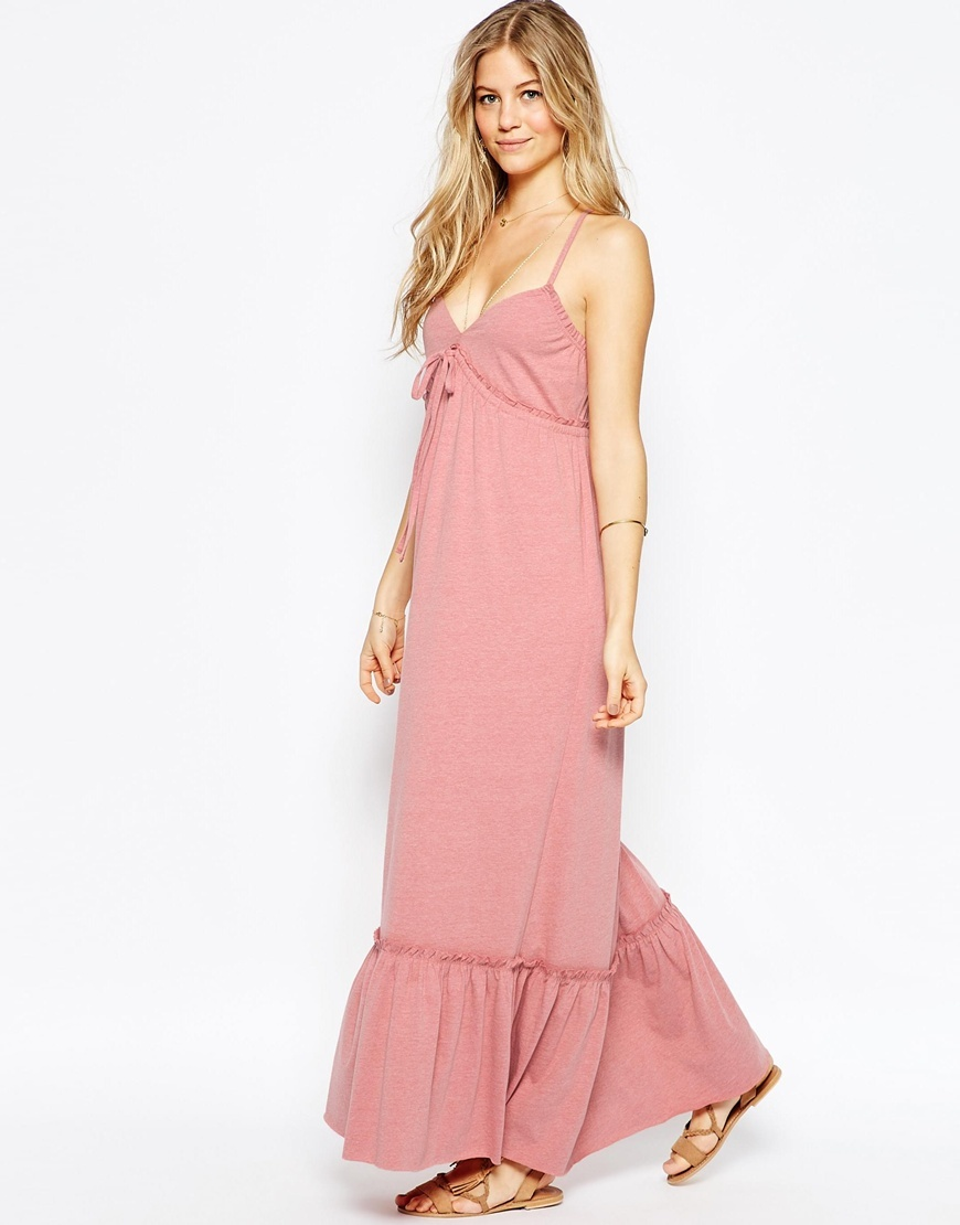 Strappy Tiered Maxi Dress Blush - neckline: low v-neck; sleeve style: spaghetti straps; pattern: plain; style: maxi dress; length: ankle length; predominant colour: pink; occasions: casual; fit: body skimming; fibres: polyester/polyamide - mix; sleeve length: sleeveless; pattern type: fabric; texture group: jersey - stretchy/drapey; season: s/s 2016; wardrobe: highlight