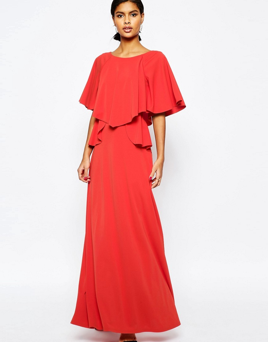 Full Soft Ruffle Maxi Dress Orange - sleeve style: dolman/batwing; pattern: plain; style: maxi dress; bust detail: ruching/gathering/draping/layers/pintuck pleats at bust; predominant colour: bright orange; occasions: evening; length: floor length; fit: body skimming; fibres: polyester/polyamide - 100%; neckline: crew; sleeve length: half sleeve; pattern type: fabric; texture group: jersey - stretchy/drapey; season: s/s 2016; wardrobe: event