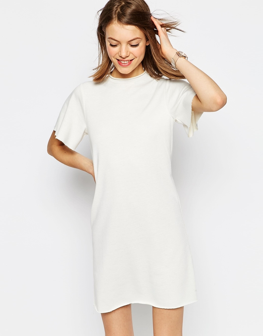 Lightweight Sweat T Shirt Dress Cream - style: shift; length: mid thigh; pattern: plain; predominant colour: white; occasions: casual; fit: body skimming; fibres: polyester/polyamide - mix; neckline: crew; sleeve length: short sleeve; sleeve style: standard; pattern type: fabric; texture group: other - light to midweight; season: s/s 2016; wardrobe: basic