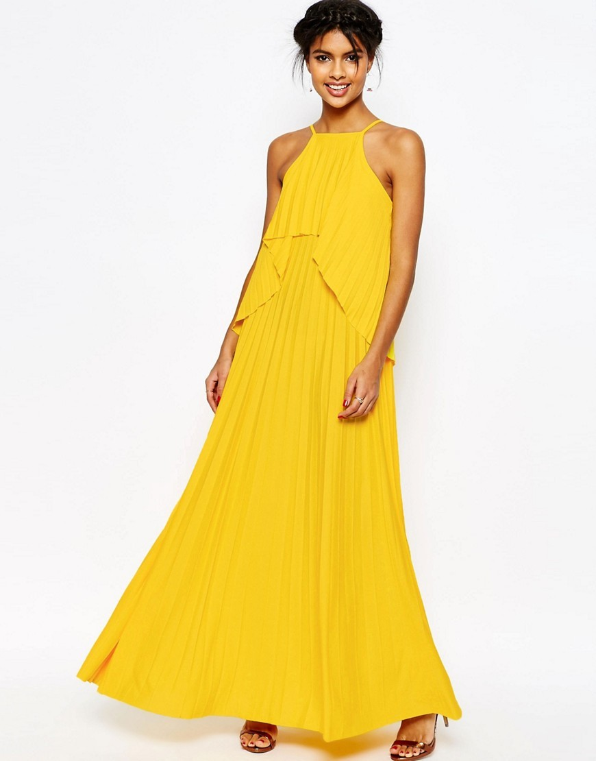 Ruffle Pleated Maxi Dress Yellow - neckline: high square neck; fit: loose; pattern: plain; sleeve style: sleeveless; style: maxi dress; bust detail: subtle bust detail; predominant colour: yellow; occasions: evening; length: floor length; fibres: polyester/polyamide - 100%; sleeve length: sleeveless; pattern type: fabric; texture group: other - light to midweight; season: s/s 2016; wardrobe: event