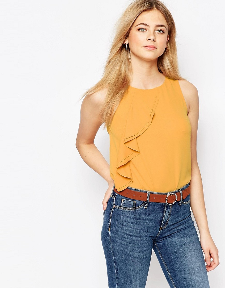 Ruffle Shell Top Ochre - neckline: round neck; pattern: plain; sleeve style: sleeveless; predominant colour: bright orange; occasions: casual, evening, creative work; length: standard; style: top; fibres: polyester/polyamide - 100%; fit: body skimming; sleeve length: sleeveless; texture group: crepes; bust detail: tiers/frills/bulky drapes/pleats; pattern type: fabric; season: s/s 2016