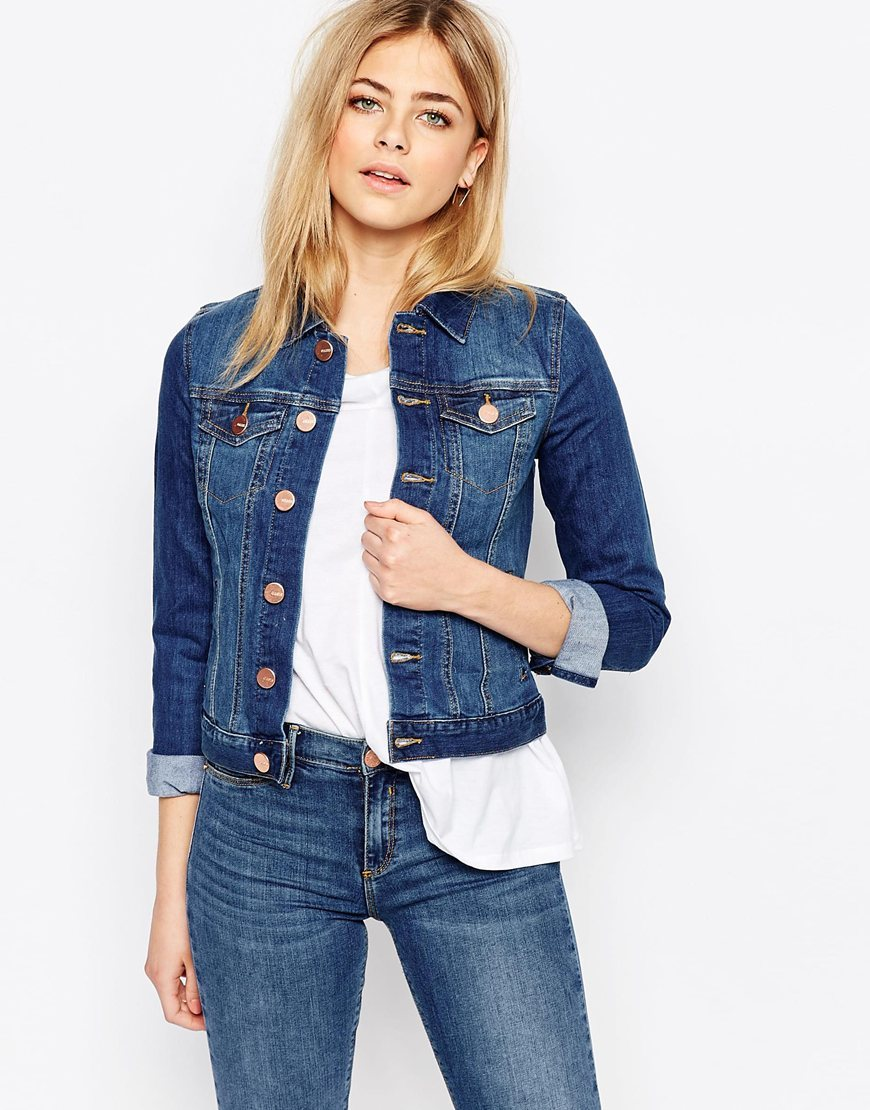 Denim Jacket Mid Wash - pattern: plain; style: denim; fit: slim fit; predominant colour: denim; occasions: casual; length: standard; fibres: cotton - 100%; collar: shirt collar/peter pan/zip with opening; sleeve length: 3/4 length; sleeve style: standard; texture group: denim; collar break: high/illusion of break when open; pattern type: fabric; season: s/s 2016; wardrobe: basic