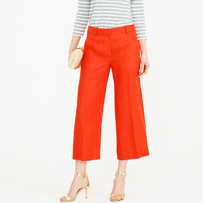 Gazebo Pant - pattern: plain; waist: mid/regular rise; predominant colour: bright orange; length: calf length; fibres: cotton - mix; waist detail: feature waist detail; texture group: cotton feel fabrics; fit: straight leg; pattern type: fabric; style: standard; occasions: creative work; season: s/s 2016; wardrobe: highlight