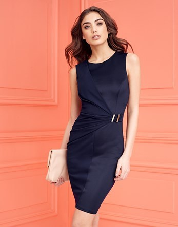 Belted Drape Detail Dress - style: shift; fit: tailored/fitted; pattern: plain; sleeve style: sleeveless; waist detail: belted waist/tie at waist/drawstring; predominant colour: navy; occasions: evening; length: just above the knee; fibres: polyester/polyamide - 100%; neckline: crew; sleeve length: sleeveless; pattern type: fabric; texture group: woven light midweight; season: s/s 2016; wardrobe: event