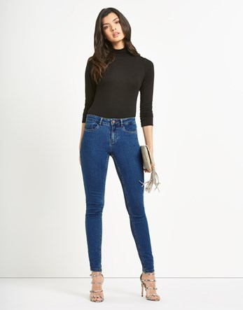 Ankle Skinny Jeans - style: skinny leg; length: standard; pattern: plain; waist: high rise; pocket detail: traditional 5 pocket; predominant colour: denim; occasions: casual; fibres: cotton - stretch; texture group: denim; pattern type: fabric; season: s/s 2016; wardrobe: basic