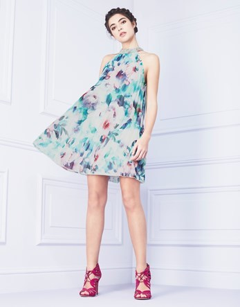 Floral Pleated Swing Dress - style: trapeze; length: mid thigh; fit: loose; sleeve style: sleeveless; neckline: high neck; predominant colour: turquoise; secondary colour: teal; fibres: polyester/polyamide - 100%; occasions: occasion; sleeve length: sleeveless; texture group: sheer fabrics/chiffon/organza etc.; pattern type: fabric; pattern size: standard; pattern: florals; multicoloured: multicoloured; season: s/s 2016; wardrobe: event