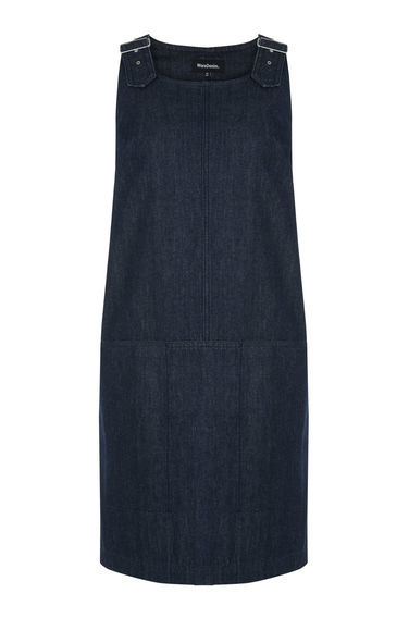 Dungarees Dress - style: shift; neckline: round neck; pattern: plain; sleeve style: sleeveless; predominant colour: navy; occasions: casual; length: just above the knee; fit: body skimming; fibres: cotton - 100%; sleeve length: sleeveless; texture group: denim; pattern type: fabric; season: s/s 2016; wardrobe: basic