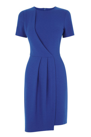 Drape Front Dress - style: shift; fit: tailored/fitted; pattern: plain; predominant colour: royal blue; length: just above the knee; fibres: polyester/polyamide - stretch; neckline: crew; sleeve length: short sleeve; sleeve style: standard; pattern type: fabric; texture group: other - light to midweight; occasions: creative work; season: s/s 2016; wardrobe: highlight