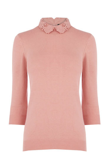 Lace Collar Detail Jumper - pattern: plain; style: standard; predominant colour: pink; occasions: casual; length: standard; fibres: polyester/polyamide - 100%; fit: slim fit; neckline: no opening/shirt collar/peter pan; sleeve length: 3/4 length; sleeve style: standard; texture group: knits/crochet; pattern type: knitted - fine stitch; embellishment: lace; season: s/s 2016; wardrobe: highlight; embellishment location: neck