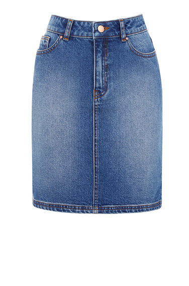 5 Pocket Denim Skirt - length: mid thigh; pattern: plain; style: pencil; fit: tight; waist: high rise; predominant colour: denim; occasions: casual; fibres: cotton - 100%; texture group: denim; pattern type: fabric; season: s/s 2016; wardrobe: basic
