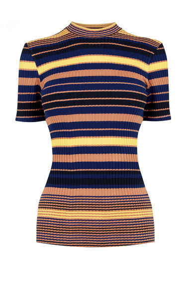 Stripe Ribbed Top - pattern: horizontal stripes; neckline: high neck; secondary colour: navy; predominant colour: nude; occasions: casual; length: standard; style: top; fit: tight; sleeve length: short sleeve; sleeve style: standard; texture group: jersey - clingy; pattern type: fabric; fibres: viscose/rayon - mix; multicoloured: multicoloured; season: s/s 2016; wardrobe: basic