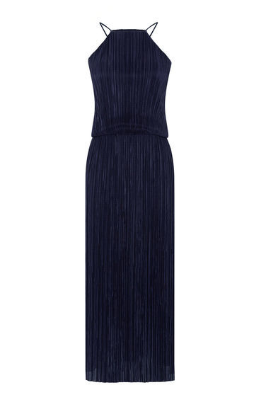 Plisse Midi Dress - style: shift; length: calf length; neckline: high square neck; pattern: plain; sleeve style: sleeveless; predominant colour: navy; occasions: evening; fit: body skimming; fibres: polyester/polyamide - 100%; sleeve length: sleeveless; texture group: sheer fabrics/chiffon/organza etc.; pattern type: fabric; season: s/s 2016; wardrobe: event