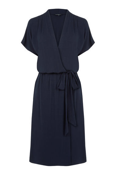 Short Sleeve Wrap Dress - style: faux wrap/wrap; neckline: v-neck; pattern: plain; waist detail: belted waist/tie at waist/drawstring; predominant colour: navy; occasions: evening; length: on the knee; fit: body skimming; fibres: viscose/rayon - stretch; sleeve length: short sleeve; sleeve style: standard; pattern type: fabric; texture group: jersey - stretchy/drapey; season: s/s 2016; wardrobe: event