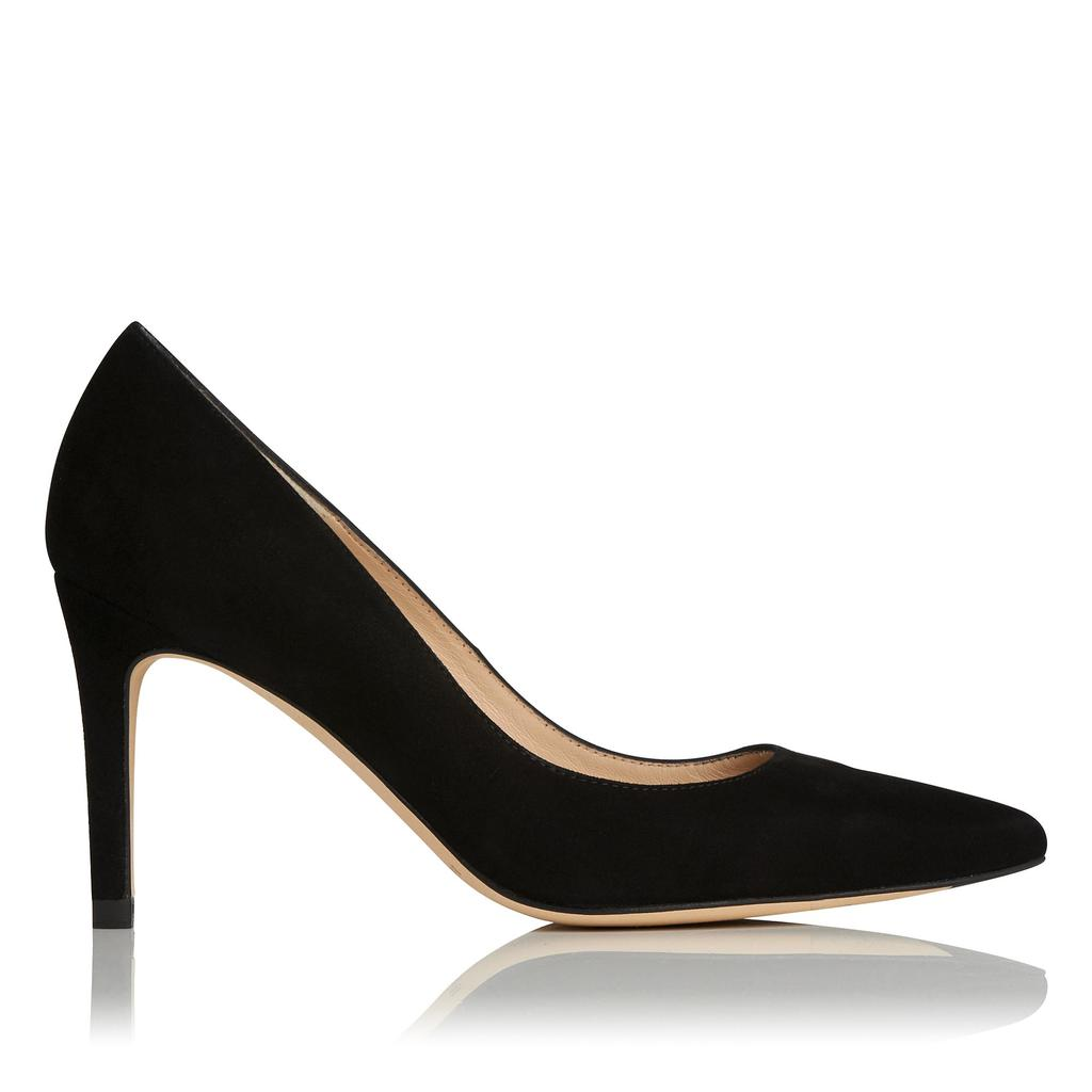 Floret Suede Point Toe Courts - predominant colour: black; occasions: evening, work, occasion; material: suede; heel height: high; heel: stiletto; toe: pointed toe; style: courts; finish: plain; pattern: plain; season: s/s 2016; wardrobe: investment