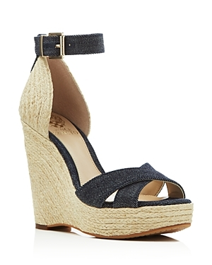 Maurita Denim Espadrille Wedge Sandals - secondary colour: navy; predominant colour: nude; occasions: casual; material: fabric; heel height: high; ankle detail: ankle strap; heel: wedge; toe: open toe/peeptoe; style: strappy; finish: plain; pattern: plain; shoe detail: platform; multicoloured: multicoloured; season: s/s 2016; wardrobe: investment