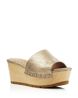Lana Metallic Platform Slide Sandals - predominant colour: gold; occasions: casual, holiday; material: faux leather; heel height: high; embellishment: studs; heel: wedge; toe: open toe/peeptoe; style: slides; finish: metallic; pattern: plain; shoe detail: platform; season: s/s 2016; wardrobe: highlight
