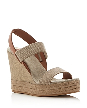 Two Band Slingback Espadrille Wedge Sandals - predominant colour: stone; occasions: casual; material: fabric; heel height: high; ankle detail: ankle strap; heel: wedge; toe: open toe/peeptoe; style: strappy; finish: plain; pattern: plain; shoe detail: platform; season: s/s 2016