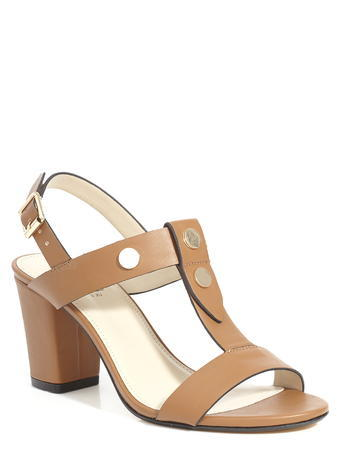 Womens Mid Heel Rivet T Bar Sandal, Tan, Tan - predominant colour: camel; material: leather; heel height: high; ankle detail: ankle strap; heel: block; toe: open toe/peeptoe; style: strappy; finish: plain; pattern: plain; occasions: creative work; season: s/s 2016; wardrobe: investment