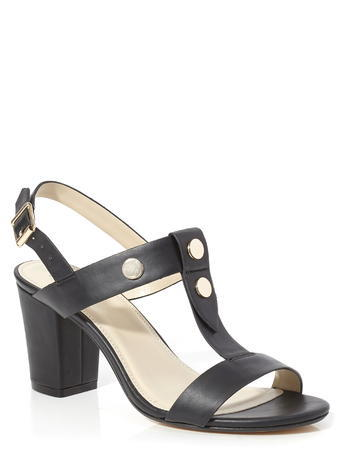 Womens Mid Heel Rivet T Bar Sandal, Black, Black - predominant colour: black; material: faux leather; heel height: high; ankle detail: ankle strap; heel: block; toe: open toe/peeptoe; style: strappy; finish: plain; pattern: plain; occasions: creative work; season: s/s 2016