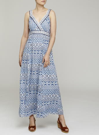 Womens Jewelled Maxi Dress, Coral, Multi - neckline: low v-neck; fit: empire; sleeve style: sleeveless; style: maxi dress; length: ankle length; predominant colour: royal blue; fibres: viscose/rayon - 100%; occasions: occasion; sleeve length: sleeveless; pattern type: fabric; pattern: patterned/print; texture group: other - light to midweight; season: s/s 2016; wardrobe: event
