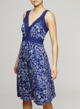 Womens Crochet Trim Sundress, Navy, Navy Print - length: below the knee; neckline: low v-neck; sleeve style: sleeveless; style: sundress; secondary colour: white; predominant colour: royal blue; occasions: casual; fit: body skimming; fibres: viscose/rayon - 100%; sleeve length: sleeveless; pattern type: fabric; pattern: florals; texture group: woven light midweight; multicoloured: multicoloured; season: s/s 2016; wardrobe: highlight
