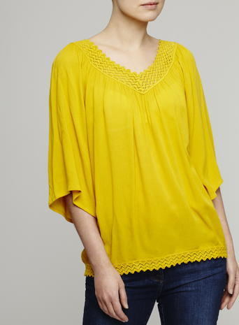 Womens Bohemian Crochet Trim Top, Mustard, Gold - neckline: v-neck; pattern: plain; predominant colour: mustard; occasions: casual; length: standard; style: top; fibres: polyester/polyamide - 100%; fit: loose; sleeve length: 3/4 length; sleeve style: standard; pattern type: fabric; texture group: other - light to midweight; season: s/s 2016; wardrobe: highlight