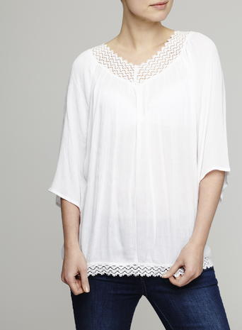 Womens Bohemian Crochet Trim Top, Ivory, Ivory - neckline: v-neck; pattern: plain; predominant colour: ivory/cream; occasions: casual; length: standard; style: top; fibres: polyester/polyamide - 100%; fit: loose; sleeve length: 3/4 length; sleeve style: standard; pattern type: fabric; texture group: other - light to midweight; season: s/s 2016; wardrobe: basic