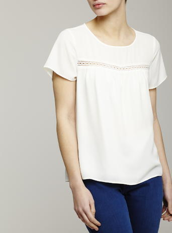Womens Ladder Trim Short Sleeved Blouse, Ivory, Ivory - pattern: plain; style: t-shirt; predominant colour: ivory/cream; occasions: casual; length: standard; fibres: polyester/polyamide - 100%; fit: body skimming; neckline: crew; sleeve length: short sleeve; sleeve style: standard; pattern type: fabric; texture group: other - light to midweight; season: s/s 2016; wardrobe: basic
