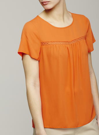 Womens Ladder Trim Short Sleeved Blouse, Bright Orange, Bright Orange - pattern: plain; style: t-shirt; predominant colour: bright orange; occasions: casual; length: standard; fibres: polyester/polyamide - 100%; fit: body skimming; neckline: crew; sleeve length: short sleeve; sleeve style: standard; pattern type: fabric; texture group: jersey - stretchy/drapey; season: s/s 2016; wardrobe: highlight