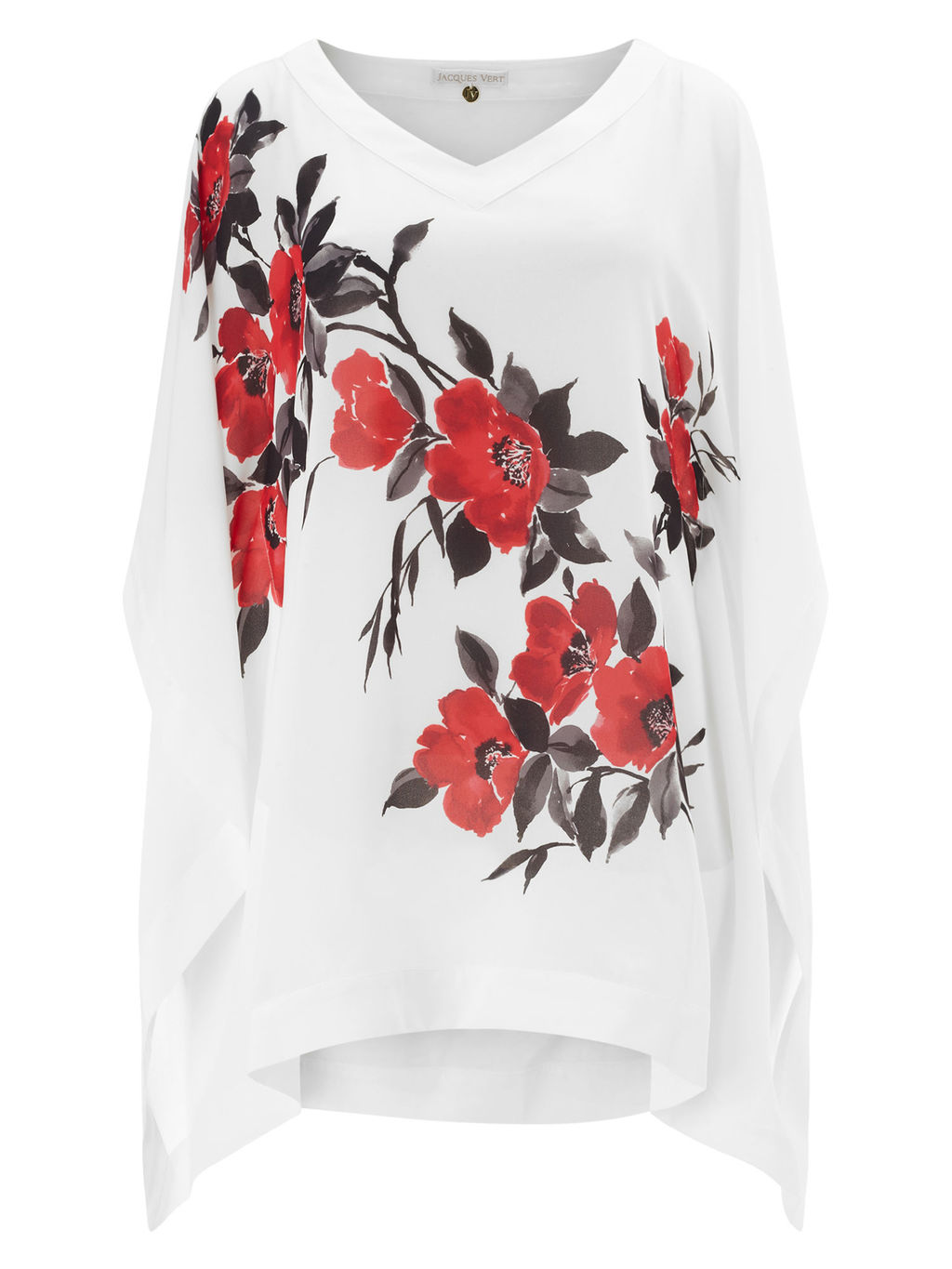 Poppy Tunic, Cream - neckline: v-neck; sleeve style: angel/waterfall; length: below the bottom; style: tunic; predominant colour: ivory/cream; secondary colour: true red; occasions: casual; fibres: polyester/polyamide - 100%; fit: loose; sleeve length: long sleeve; pattern type: fabric; pattern: florals; texture group: woven light midweight; pattern size: big & busy (top); multicoloured: multicoloured; season: s/s 2016; wardrobe: highlight