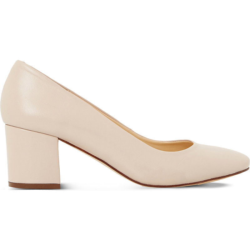 Annalena Leather Courts, Women's, Eur 40 / 7 Uk Women, Nude Leather - predominant colour: nude; occasions: work, occasion; material: leather; heel height: mid; heel: block; toe: pointed toe; style: courts; finish: plain; pattern: plain; season: s/s 2016; wardrobe: investment