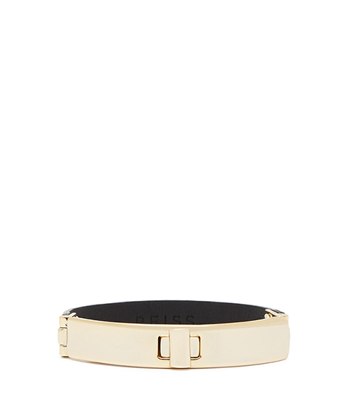 Sia Metal And Leather Bracelet - predominant colour: ivory/cream; occasions: evening, work, creative work; style: bangle/standard; size: standard; material: leather; finish: plain; season: s/s 2016; wardrobe: highlight