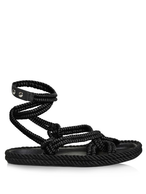 Lou Wraparound Rope Sandals - predominant colour: black; occasions: casual, holiday; material: leather; heel height: flat; ankle detail: ankle tie; heel: standard; toe: open toe/peeptoe; style: strappy; finish: plain; pattern: plain; season: s/s 2016; wardrobe: basic