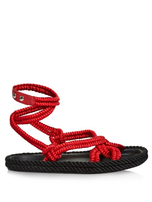 Lou Wraparound Rope Sandals - predominant colour: true red; occasions: casual, holiday; material: fabric; heel height: flat; ankle detail: ankle strap; heel: standard; toe: open toe/peeptoe; style: strappy; finish: plain; pattern: plain; season: s/s 2016; wardrobe: highlight