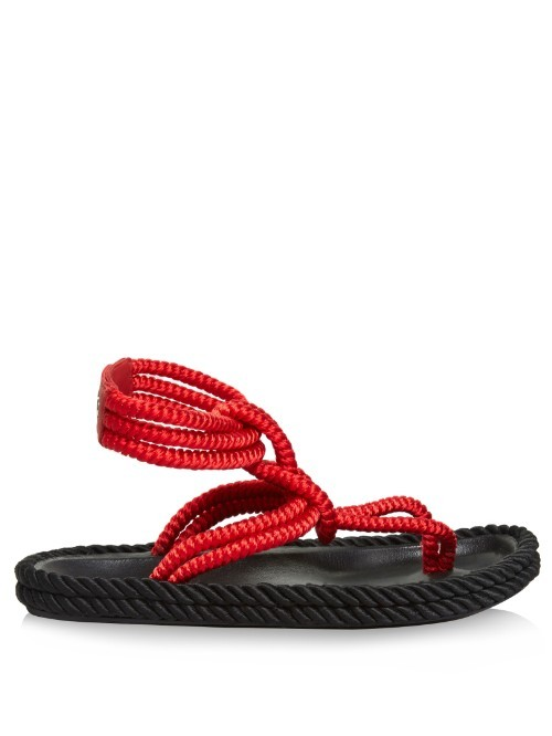 Lesley Ankle Strap Rope Sandals - predominant colour: true red; occasions: casual, holiday; material: fabric; heel height: flat; ankle detail: ankle strap; heel: standard; toe: toe thongs; style: strappy; finish: plain; pattern: plain; season: s/s 2016