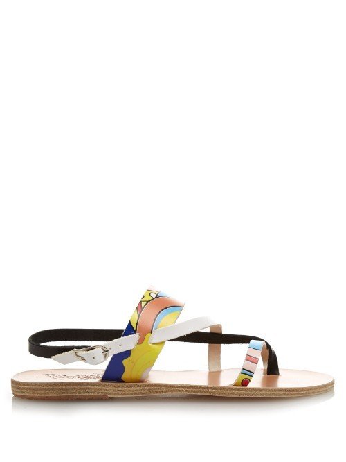 X Peter Pilotto Alethea Leather Sandals - predominant colour: black; occasions: casual, holiday; material: leather; heel height: flat; heel: block; toe: open toe/peeptoe; style: strappy; finish: plain; pattern: patterned/print; multicoloured: multicoloured; season: s/s 2016