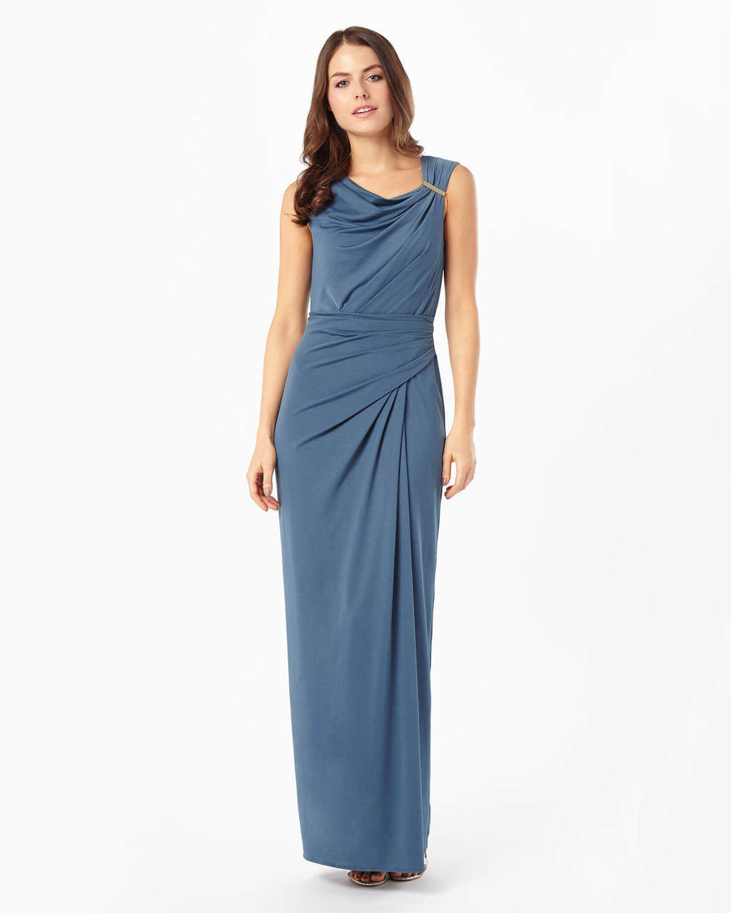 Dina Trim Maxi Dress - neckline: cowl/draped neck; fit: tailored/fitted; pattern: plain; sleeve style: sleeveless; style: maxi dress; length: ankle length; waist detail: flattering waist detail; predominant colour: denim; fibres: polyester/polyamide - stretch; occasions: occasion; hip detail: subtle/flattering hip detail; sleeve length: sleeveless; pattern type: fabric; texture group: jersey - stretchy/drapey; season: s/s 2016; wardrobe: event